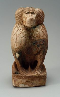 Baboon figurine, representative of the God Djehuty (Thoth) , Egyptian, Late Period, 760–332 B.C.