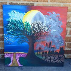 Acrylic on canvas Green vs Greed by AshleyArtsGallery on Etsy