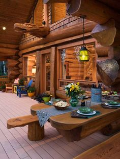 Cabin deck with built-in picnic table