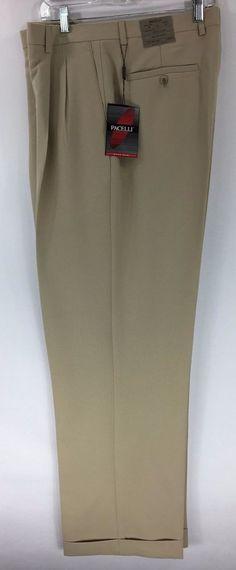 Men's Sand Dress Pants 2-Pleats with Cuffed Hem Polyester Pacelli Pierce 36-48 #Pacelli #DressPleat