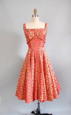 1950s Dress / 50s Fire Brocade Gown. $128.00, via Etsy.