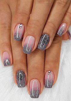 Glitter French Nails, Cute Acrylic Nails, Ombre French Nails, Glitter Gel Nails, Purple Glitter, Dark Purple, Toe Nails, Pink Nails, Coffin Nails