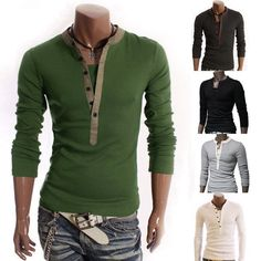 College Mens Slim Fit Jumper Long Sleeve V-neck T-shirt Comfy Casual Tee Tops in Clothing, Shoes & Accessories, Men's Clothing, Casual Shirts | eBay