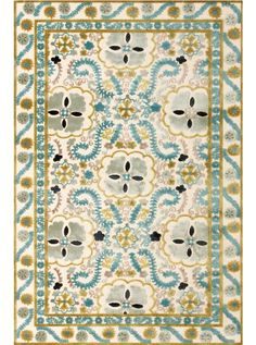 This Saphir Cabo Cream Aqua Collection rug (3186F) is manufactured by Feizy.