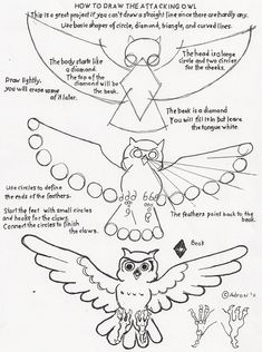 How to Draw Worksheets for The Young Artist: How to draw an attacking owl - a drawing skillbuilder