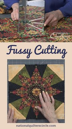 Fussy cutting fabric is a great way to create new designs, repeats and kaleidoscope effects when piecing your next quilt. Toby Lischko shows you how to fussy cut different fabrics using templates and how to use mirrors in order to find unique repeats within the fabric you are using. Quilting Tutorials, Quilting Ideas, Mini Quilts, How To Dye Fabric, Different Fabrics, Quilt Blocks, Free Pattern, Projects To Try, Templates