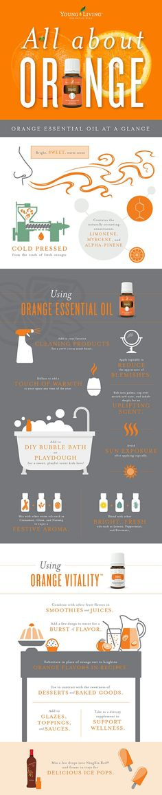 The various uses for orange essential oil. #orange#healthy#wellness#vitality