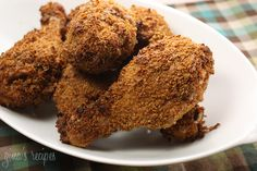 "This ""fried"" chicken is moist and crispy and loaded with flavor, yet won't leave you feeling guilty after you eat it.  Oven Fried Chicken 