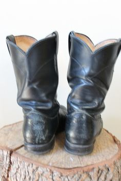 Justin Black Leather and Reptile Cowboy Boots by milkandcookiess, $34.99