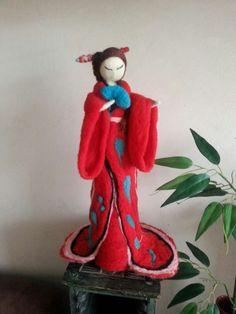 Escultura fieltro agujado hermosa china
