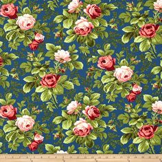 Verna Mosquera Indigo Rose Bloomfield Midni from @fabricdotcom  Designed by Verna Mosquera for Free Spirit, this cotton print fabric is perfect for quilts, home décor accents, craft projects and apparel. Colors include shades of blue, green and pink.