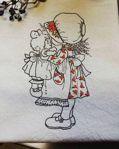 인형을 안은 귀여운소녀~~ #Illustration embroidery  #cute girl with doll illustration embroidery  #일러스트자수 # 일러스트장미자수