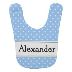 Blue and white polkadot pattern baby bib with name