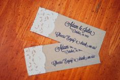 For Kylie: Custom Rustic Wedding Drink Ticket or Placecards