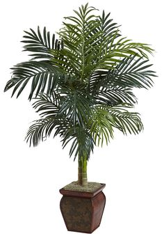 Golden Cane Palm Artificial Tree with Wood Planter | 4.5 feet