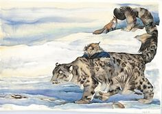 painting of a snow leopard, ghost cat coming out of the page, slowly painting through the day and on into the evening as the daylight fades and the stars drop into the sky, one by one Winter Baby Clothes, Baby Winter, Baby In Snow, Postcard Book, Ghost Cat, Snow Leopard, Childrens Books, Illustrators, Art Gallery
