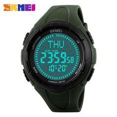 Men Sports Watches World Time Compass Countdown Wristwatches Waterproof 3 Alarm Digital Watch