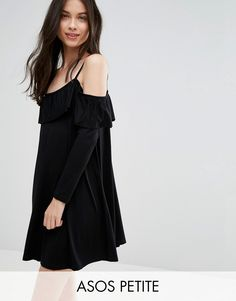 Buy it now. ASOS PETITE Swing Dress with Frill Cut Out Shoulder Detail - Black. Petite dress by ASOS PETITE, Smooth stretch jersey, Scoop neck, Cold-shoulder design, Cami straps, Frill detail, Loose fit � falls loosely over the body, Machine wash, 95% Viscose, 5% Elastane, Our model wears a UK 8/EU 36/US 4. ABOUT ASOS PETITE 5�3�/1.60m and under? The London-based design team behind ASOS PETITE take all your fashion faves and cut them down to size. Say goodbye to all your short-girl prob...