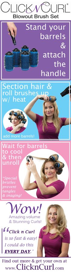 Click n Curl - the detachable round brush that creates salon-like hairstyles at…
