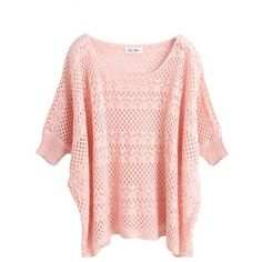 Pink Ultra-Thin Hollow Bat Short-Sleeved Round Neck Sweater ($19) ❤ liked on Polyvore featuring tops, sweaters, shirts, blusas, shirt tops, round neck sweater, short sleeve shirts, thin sweater and short sleeve tops
