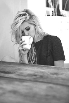 messy hair and coffee <3