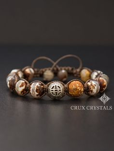 Desert View Men's Brown Agate Shamballa Bracelet by CruxCrystals