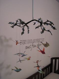 Polly Want A Crafter?: Beautiful DIY Flowering Branch and Bird Nursery Mobile
