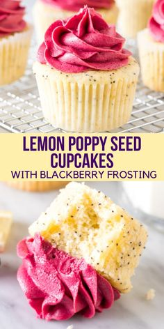 Moist and tender, these lemon poppy seed cupcakes are bursting with a fresh lemon flavor and filled with tiny, crunchy poppy seeds. The blackberry frosting tastes like biting into fresh berries, and. Köstliche Desserts, Delicious Desserts, Delicious Cupcakes, Lemon Desserts, Yummy Cakes, Yummy Treats, Sweet Treats, Def Not, Oreo Dessert