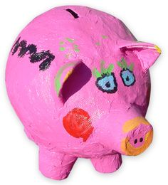 Paper Mache Piggy Bank. Art Projects for Kids