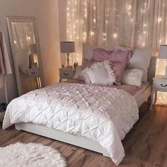 Romantic Bedroom Inspiration Sophisticated White And Pink Bedroom String  Light Backdrop White Duvet Pink Accents