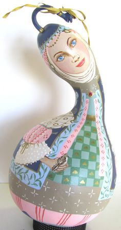 Hand Painted Gourd Lady Gold Green Blue Pink Fantasy Home Decor  Created by @ArtsnEnds4t