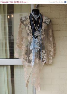 REDUCED30%OFF Stunning OOAK  Cream Crochet Pale by GlamourZoya