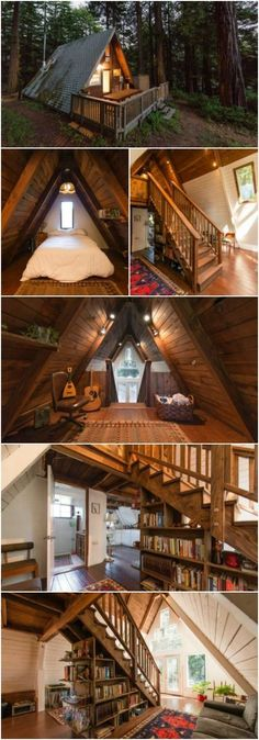 Mythical A-Frame Tiny House Waits for You in the California Woods - This amazing A-frame tiny house is for rent in Cazadero, California through Airbnb and it's like something out of a storybook Tiny House Family, Tiny House Cabin, Tiny House Living, Tiny House Plans, Tiny House Design, Cabin Homes, Cozy House, A Frame House Plans, Tiny Cabins