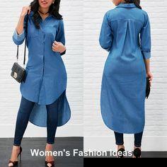 Women's Blue Jeans Denim T-Shirt Long Sleeve Casual Loose Shirt Mini Dress Latest African Fashion Dresses, Women's Fashion Dresses, Casual Dresses, Casual Outfits, Maxi Dresses, Long Shirt Outfits, Ladies Dresses, Casual Jeans, Blue Jeans