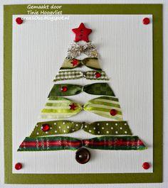 Kerstkaart met lintjes, simpel en stijlvol