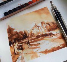 Watercolour 2016/ 20x20cm/ Spacer po Kołobrzegu/ paper: Saunders 300g