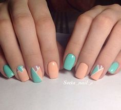 Mint and orange manicure style - LadyStyle