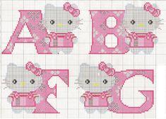 Hello Kitty ABC Alphabet - Free Cross Stitch Chart Pattern