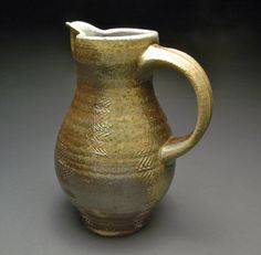 Brown Textured Wood Fired Pitcher with Blue by YuishCeramics, $60.00