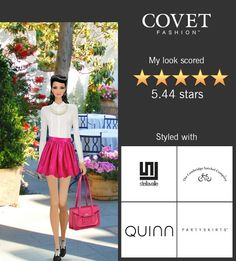 Ice cream social event on Covet Fashion Game. PARTYSKIRTS by SKOT and Cambridge Satchel Company bag.
