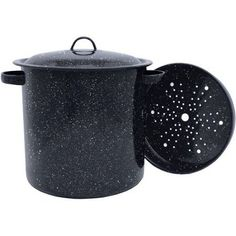 Granite Ware 15.5-Quart Tamale Pot with Lid and Steamer, Black