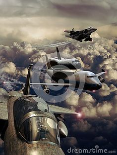 747 Boeing with space shuttle on its back, escorted by several fighters F15 over clouds.