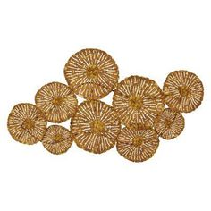 A shining array of flowers brings a striking, artistic accent to your decor with the DecMode Metal Wall Sculpture - Gold . Crafted from durable. Metal Flower Wall Art, Circle Metal Wall Art, Abstract Metal Wall Art, Metal Sculpture Wall Art, Modern Sculpture, Metal Flowers, Metal Wall Decor, Wall Sculptures, Wall Art Decor