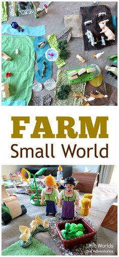 How to set up a farm small world using fabric scraps to encourage creative and imaginative play. A fun activity for toddlers and preschoolers. Toddler Fun, Toddler Preschool, Toddler Activities, Preschool Farm, Preschool Classroom, Indoor Activities, Sensory Activities, Dinosaur Small World, Small World Play