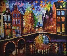 Schilderij kleurrijk Amsterdam