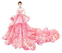 Pink fluffy strapless gown - Sunny Gu.