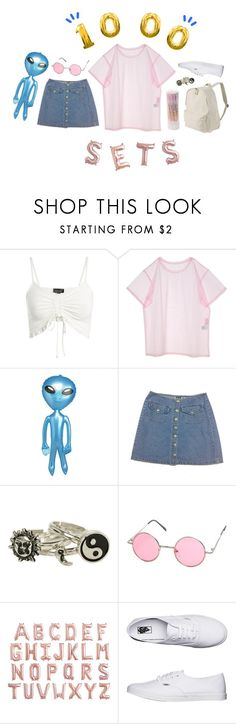 """""""Untitled #1000"""" by jaykitten123 ❤ liked on Polyvore featuring Topshop, Hot Topic, Muji and Vans"""