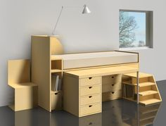 The bed desk combo is a piece of furniture that allows you to save space in the interior decoration of a studio, a loft or a small room. Diy Interior, Interior Decorating, Small Apartments, Small Spaces, Mezzanine Bed, Student Room, Bed Photos, Apartment Design, Home Bedroom
