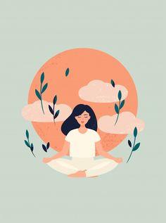 Ilustración de yoga chica meditación con...   Premium Vector #Freepik #vector #arbol #personas #amor #naturaleza