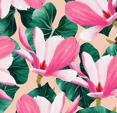 Peachy colors and magnolia flowers 🍑 Wallpapers Texture, Graphic Patterns, Print Patterns, Tropical Pattern, Surface Pattern Design, Illustrations, Wallpaper Backgrounds, Floral Backgrounds, Pattern Wallpaper